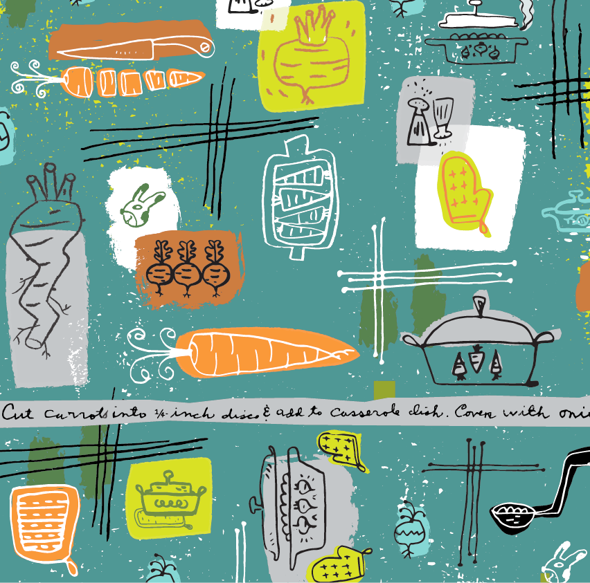 The assignment: vintage style kitchen bolt fabric design using the theme of root vegetables and casserole dishes.