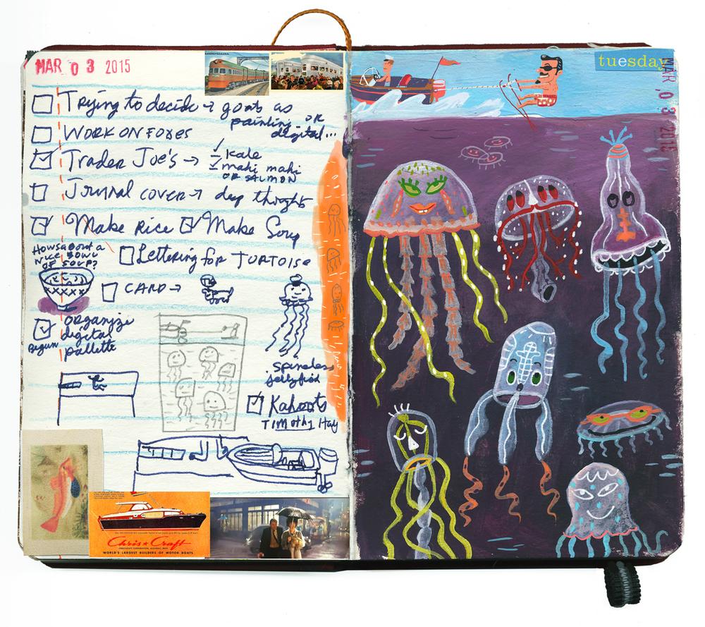 Spineless jellyfish sketchbook