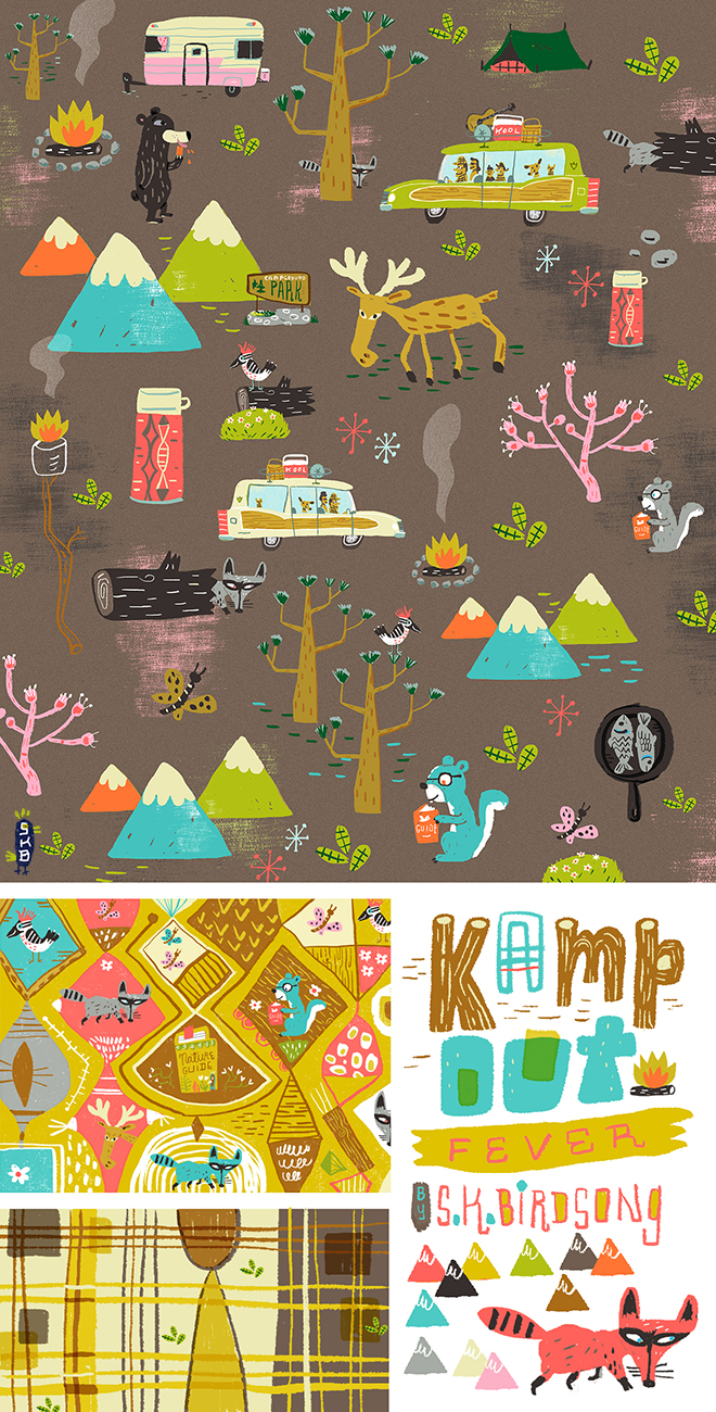 Kamp*out fever fabric design