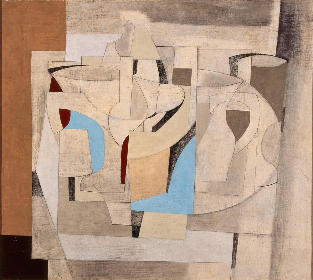 Ben Nicholson, Still Life: Crystal, 1948, Oil and pencil on canvas (Milwaukee Art Museum)