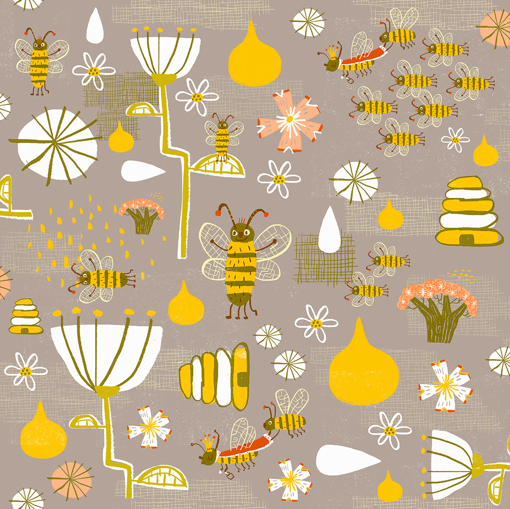 What's the buzz pattern design on Spoonflower and Society 6.