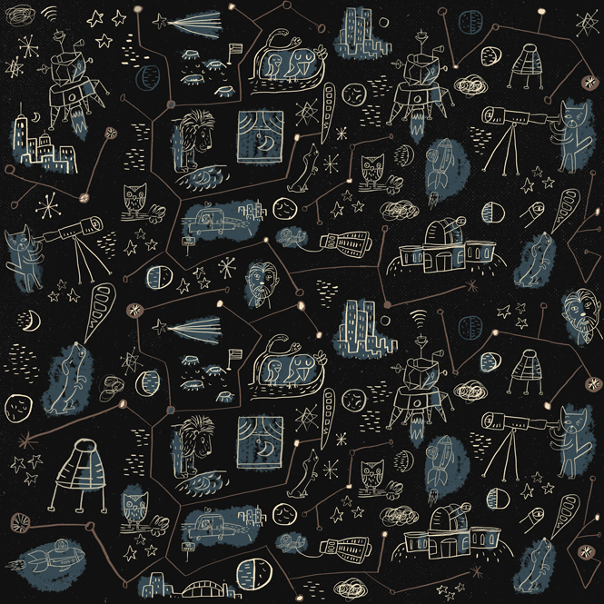 The moon & you, fabric design on Spoonflower