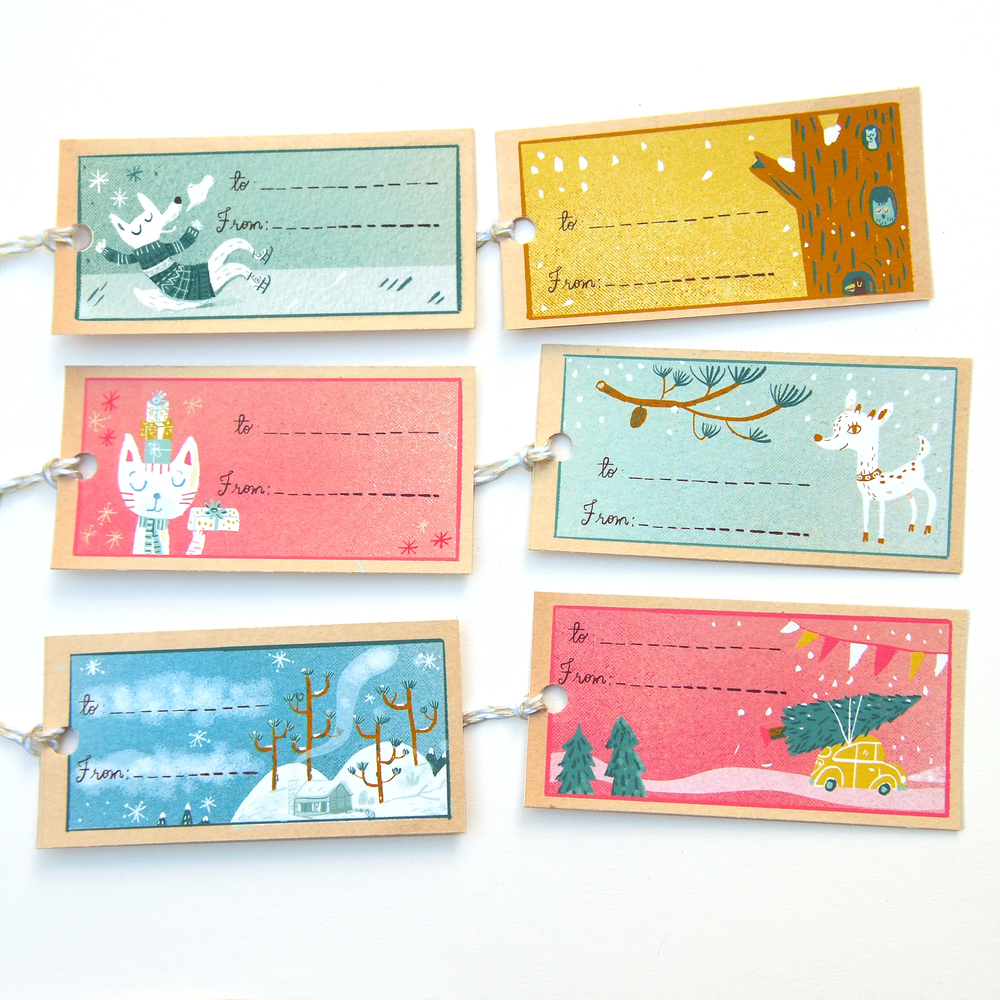 Handcut gift tag set on Etsy