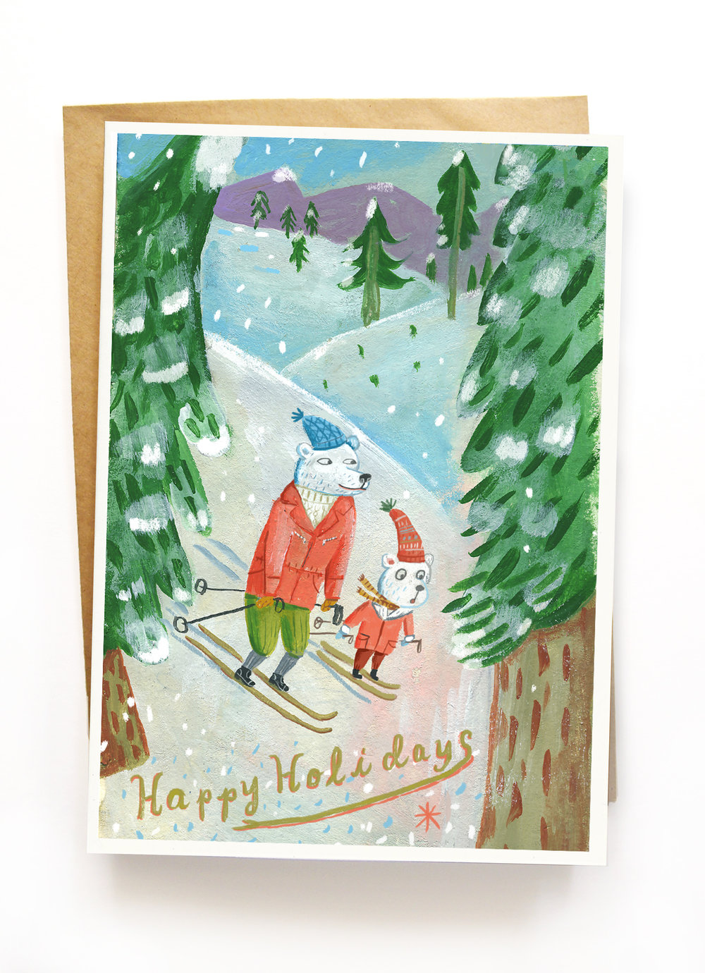 """Skiing Bears"" greeting card on  Etsy.  $10.00 for 3 5"" x 7"" cards with envelopes. Shipping is free."