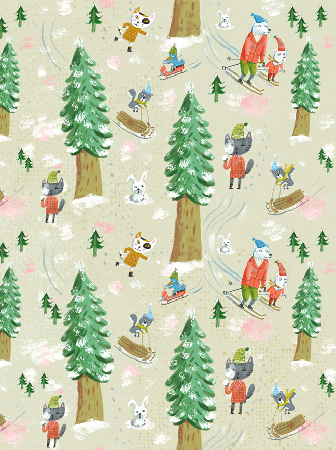 """Snow Day"" fabric and Gift Wrap at Spoonflower."