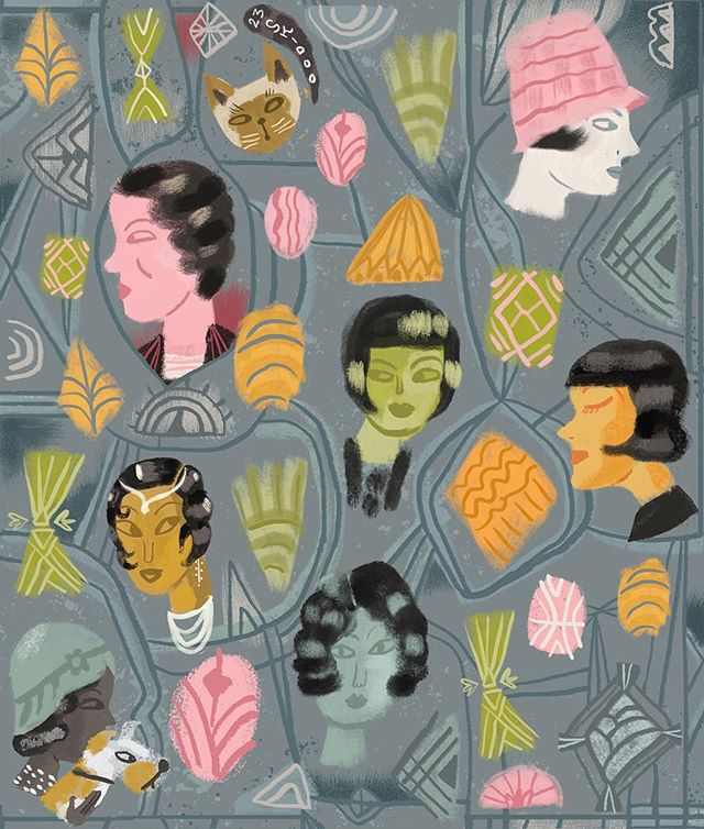 A little riff on the 1920s for this week's #spoonflowerdesignchallenge #fabric #1920s  #1920shair #spoonflower #pattern #flapper #surfacedesign #illustration #women #foxterrier #cat