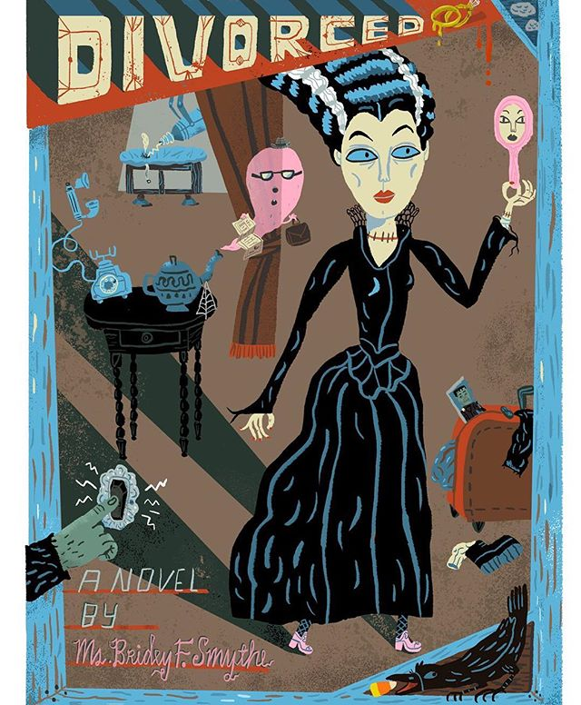 """Divorced"" A fake novel made from a #Halloween card I was working on. 👻 #ghost #gothic #book #victorian #frankenstein #maryshelley #divorce #illustration #monster #bride #bookjacket #haunted #women #girlpower"
