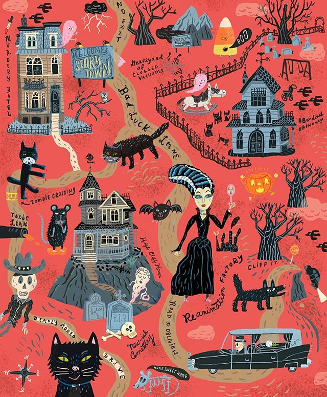 Things to see in Scary Town. 😳👻💀👹🦇#halloween #map #scary #blackcat #haunted #hauntedhouse #graveyard #ghost #skeleton #illustration