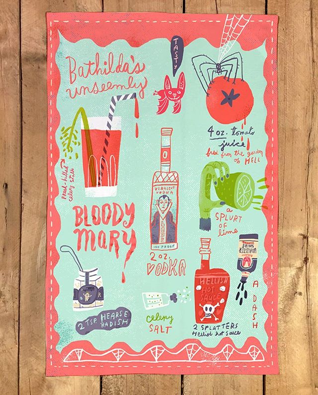 Bathilda's Unseemly Bloody Mary tea towel for this week's #spoonflowerdesignchallenge 🦇👹👻 #teatowels #halloween #recipe #bat #bloodymary #cocktails #illustration