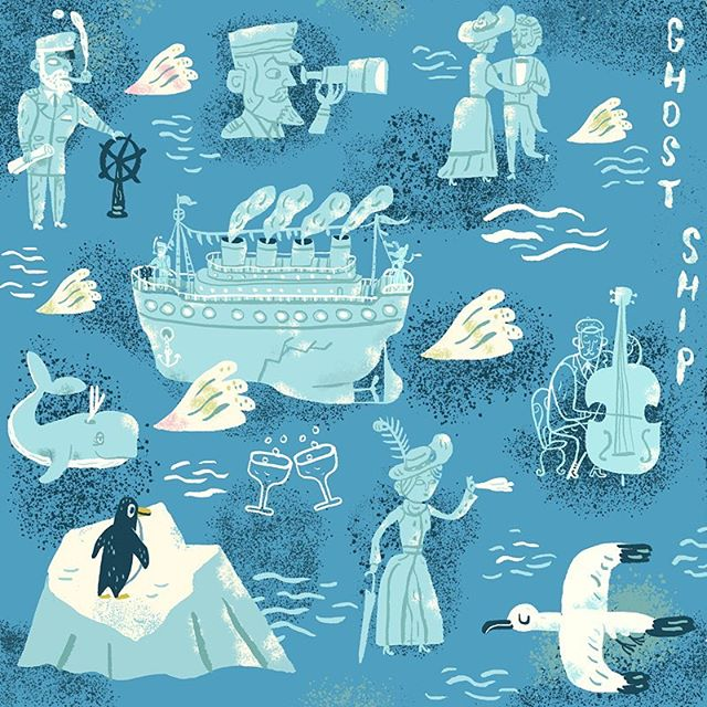 Happy Friday! This week's  nautical #SpoonflowerDesignChallenge gave me a chance to revisit the ghost ship. 🌝👻👻 🚢 Anchors aweigh! You can vote for your favorites here: http://www.spoonflower.com/contest_voters_temp/new?contest_id=491 #nautical #fabric #pattern #ocean #ship #titanic #ghost #spoonflower #haunted #illustration