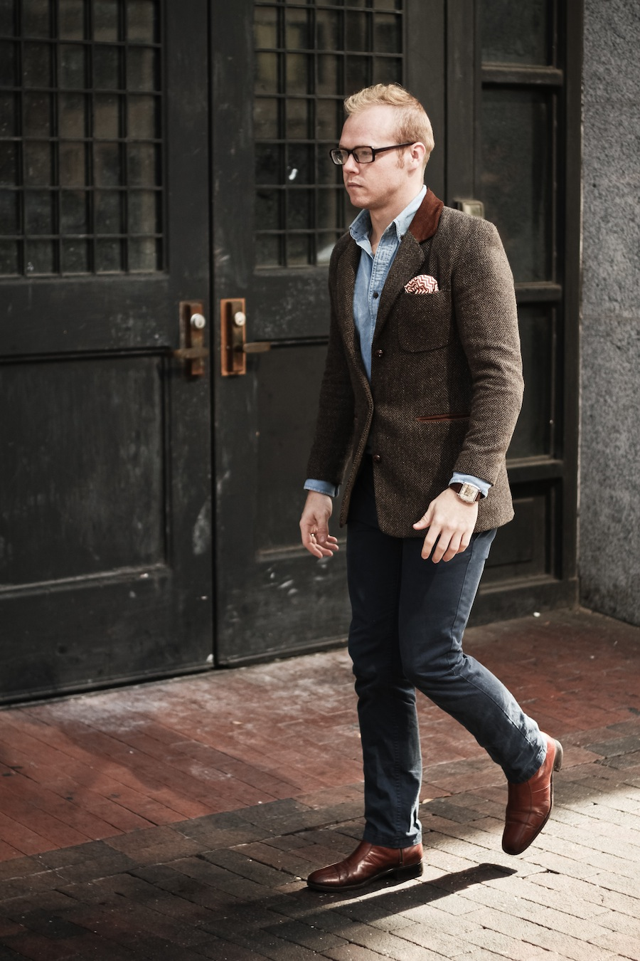 Zac Chambers Bold Wave Stripe Pocket Square Tweed Coat Brothers and Craft