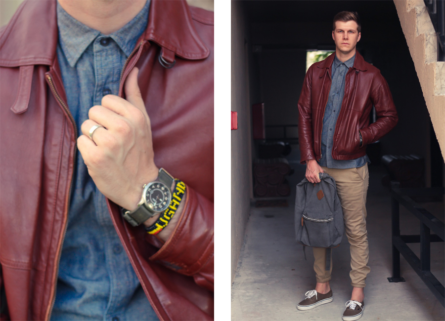Burgundy Leather Jacket Thrift Kirk Chambers Brothers and Craft