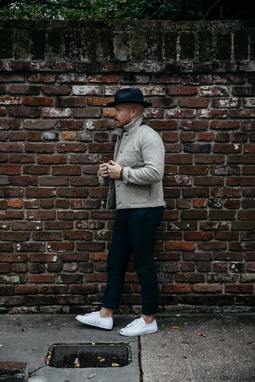 Zac's Look - 01. Billy Reid Gunner Jacket02. Converse Jack Purcell Sneakers