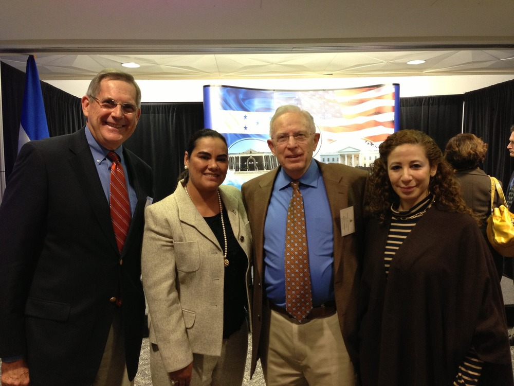 Mike Tysowsky and Bob Sumner with First Lady of Honduras, Rosa Elena Bonilla de Lobo (2nd from left) and Vice Secretary of Social Development, Lidia Fromm Cea (right) at the Mano a Mano National NGO conference hosted by the Honduran Embassy in Washington, D.C.