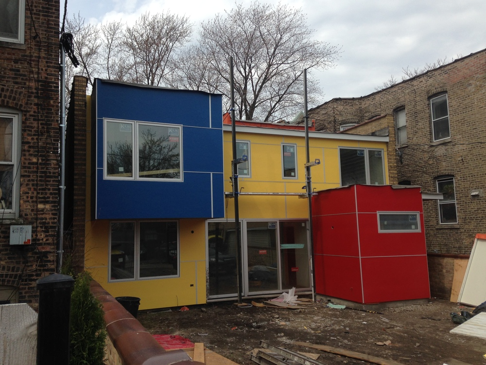 Primary colors enhance the rear of the Periscope House