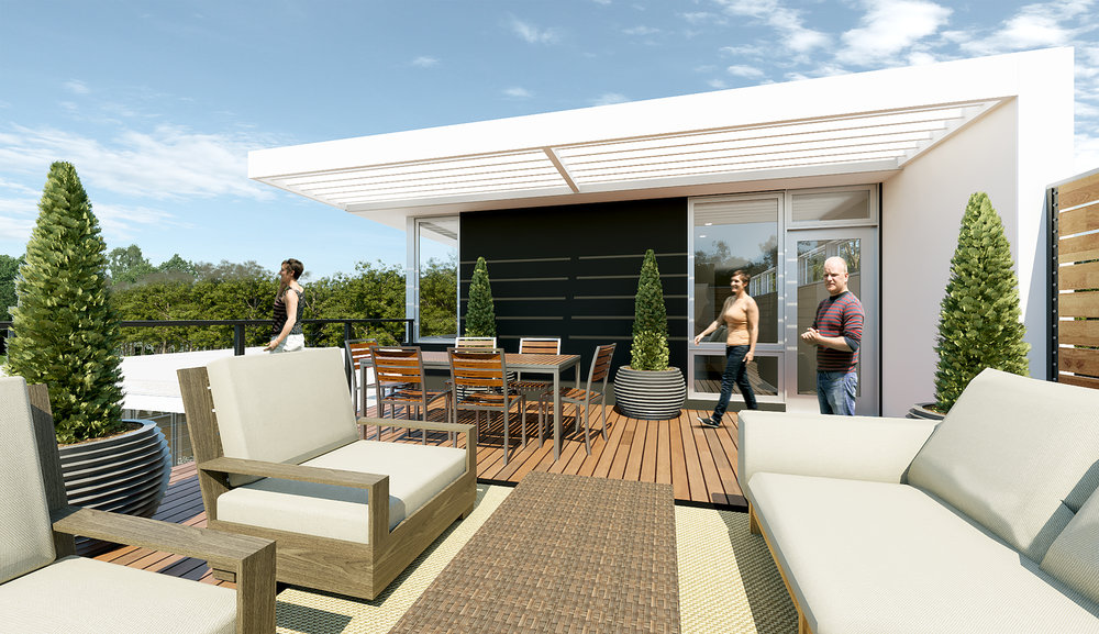 Roof deck overlooking private garden space below at  Highland Park Modern