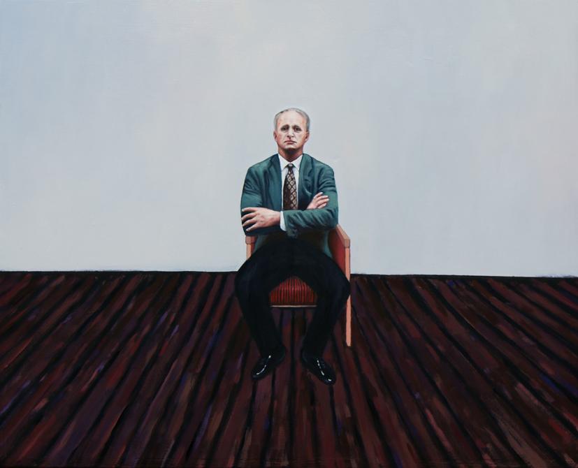 El hombre en la silla ,  2010, Oil on wood, 40 x 50 cm