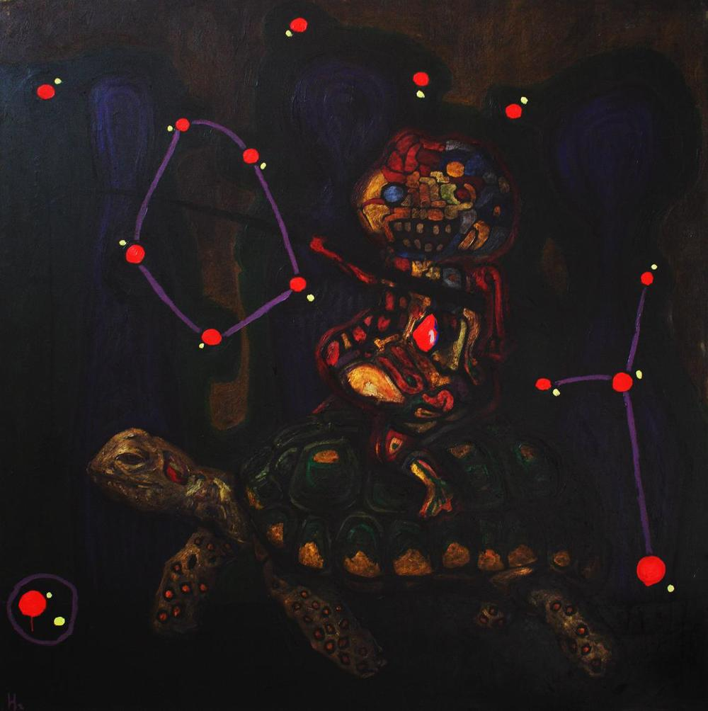 El dúo ,   2008, Oil on canvas, 150 x 150 cm