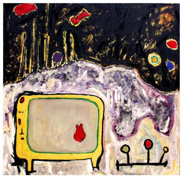 Televisión macrovisión  ,  2007, Oil on canvas, 100 x 100 cm