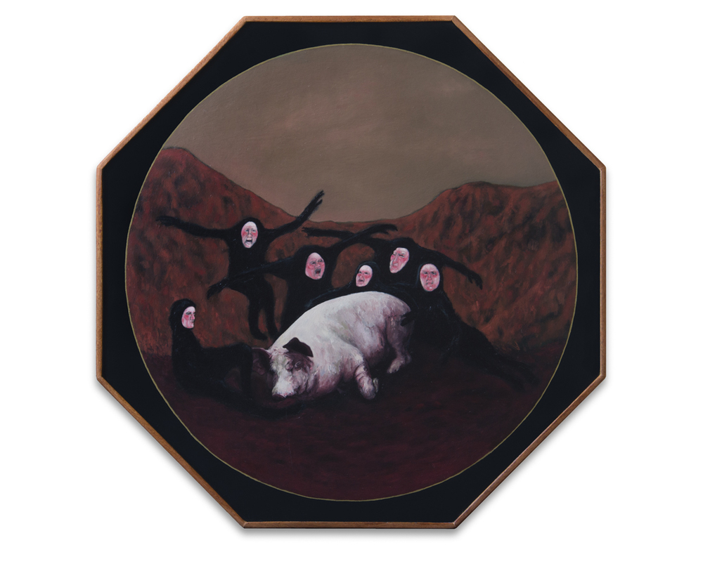 Un cadáver no venga injurias , 2012, Oil on wood, 36 x 36 cm