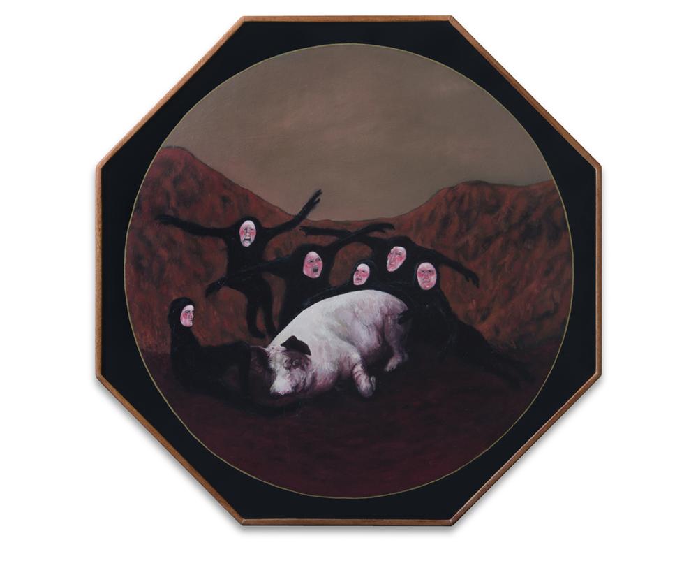 Un cadáver no venga injurias , 2012, Oil on wood, 36 x 36 cm