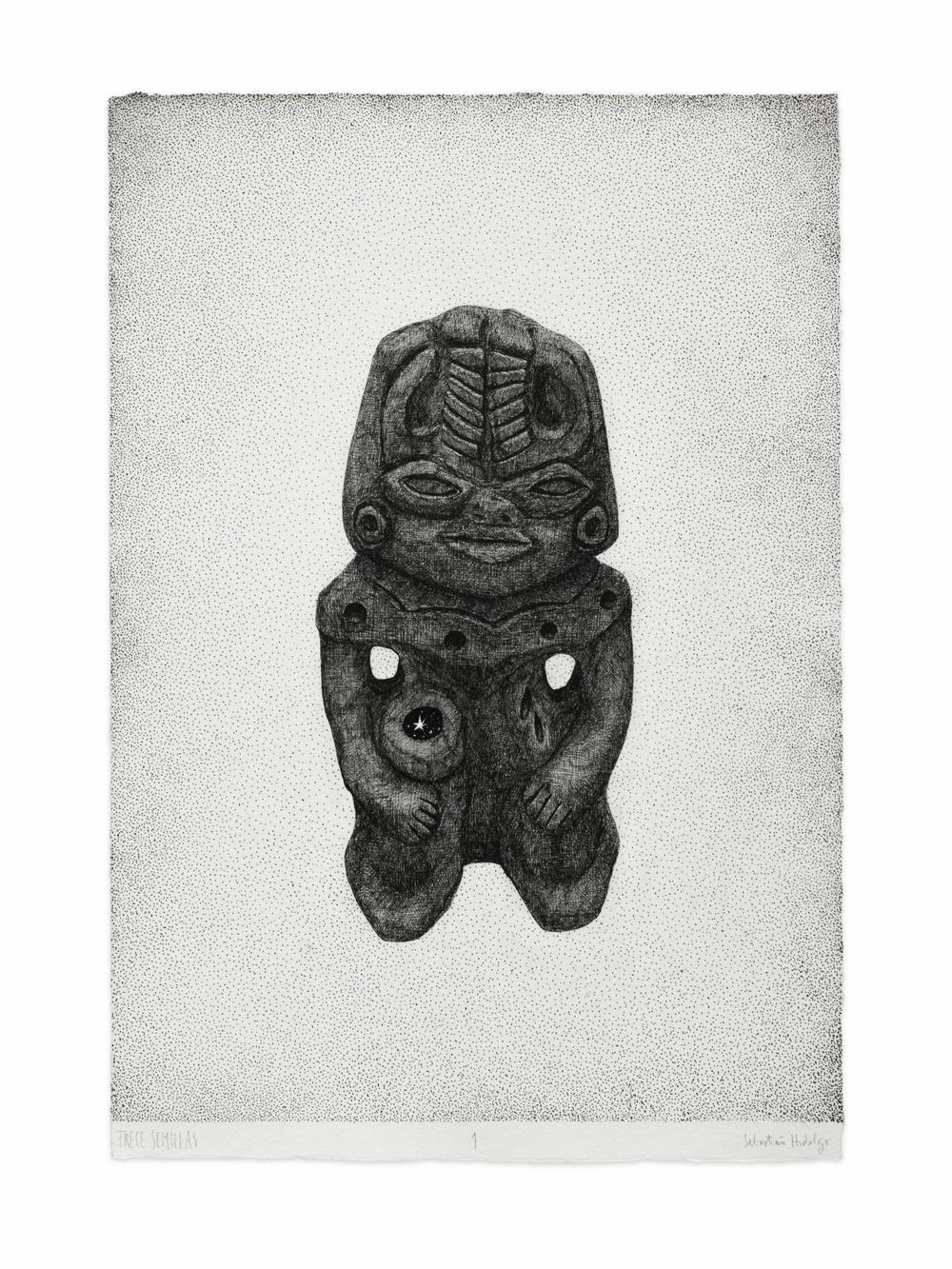 Trece semillas/1, 2015 Ink on paper, 39 x 26.5 cm