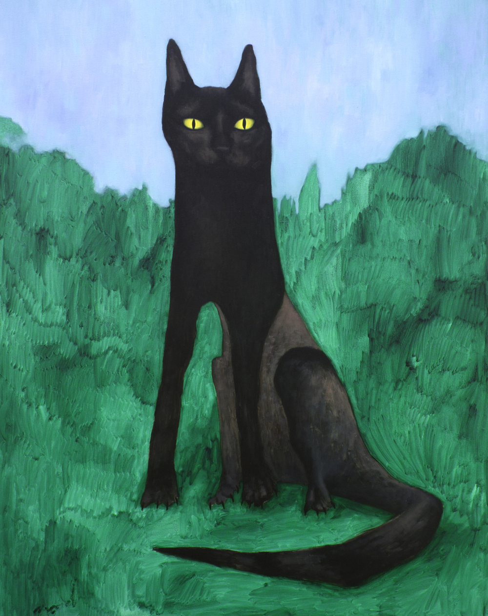 Paisaje con gato,  2014, Oil on canvas, 140 x 110 cm