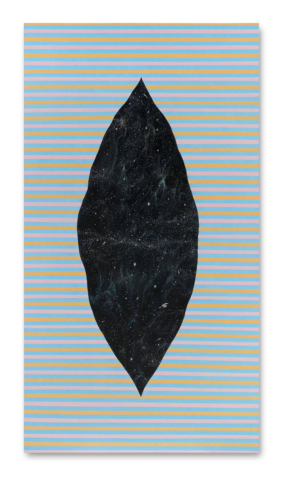 Nave en el espacio del espacio ,  2016, Oil and gold leaf on canvas, 185 x 100 cm