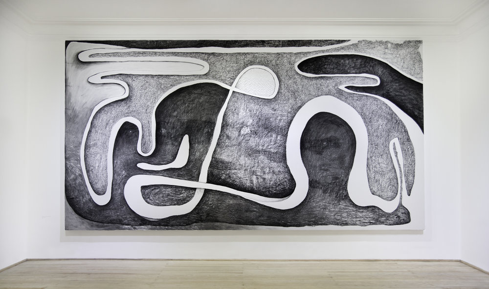 1 ,   2017, Charcoal and acrylic paint on wood, 263 x 488 cm