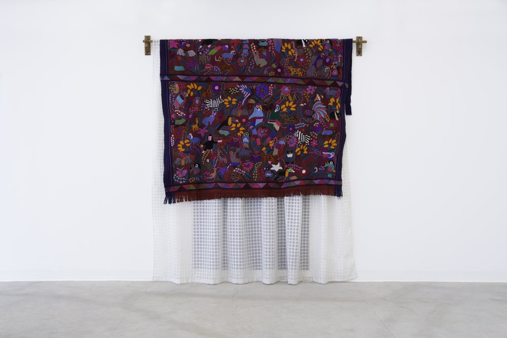 Detrás de la Puerta (Behind the Door) , 2018, curtain rod, curtain, textile, acrylic paint, 223 x 210 x 18 cm