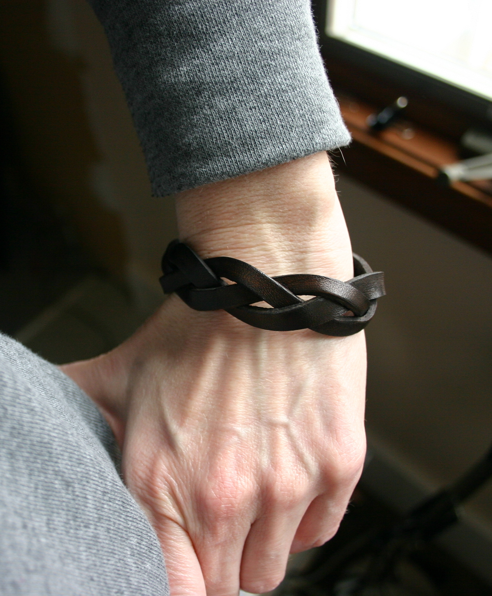 Dark brown leather braided bracelet