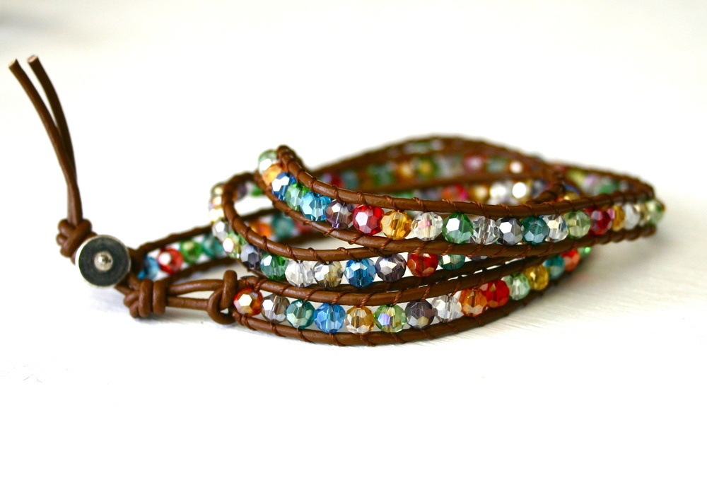 Colorful Crystal Leather Wrap Bracelet