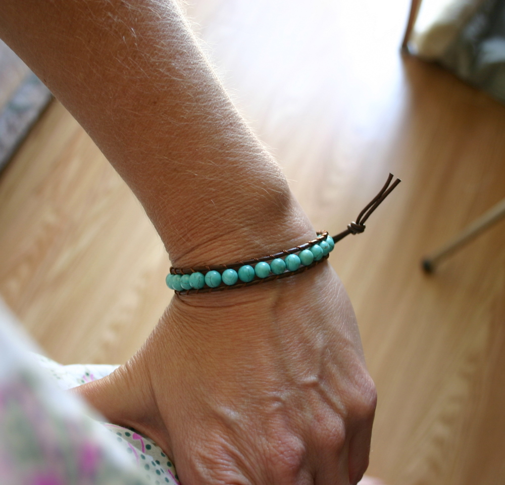 Leather and Magnesite Wrap Bracelet.