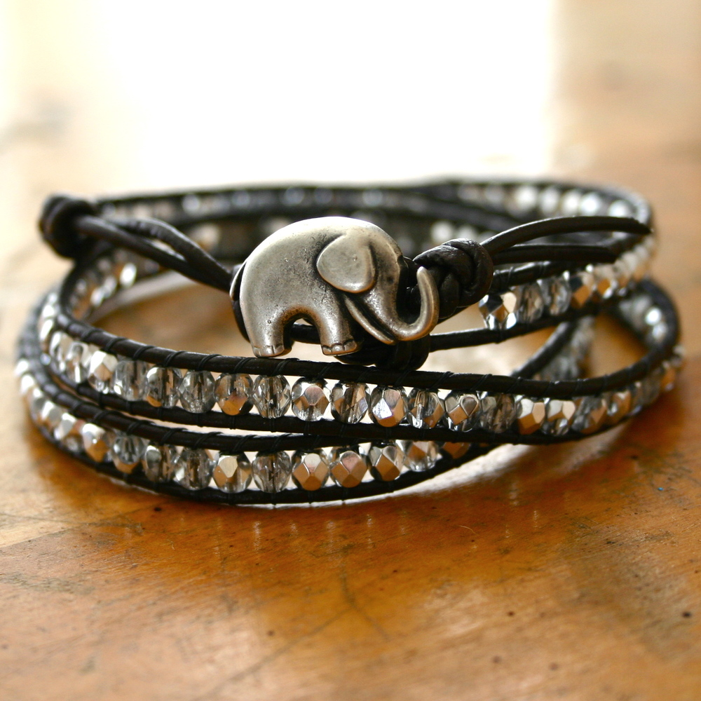 Lucky Elephant beaded wrap bracelet.