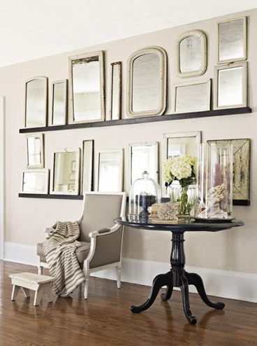 Narrow shelf and vintage mirrors!