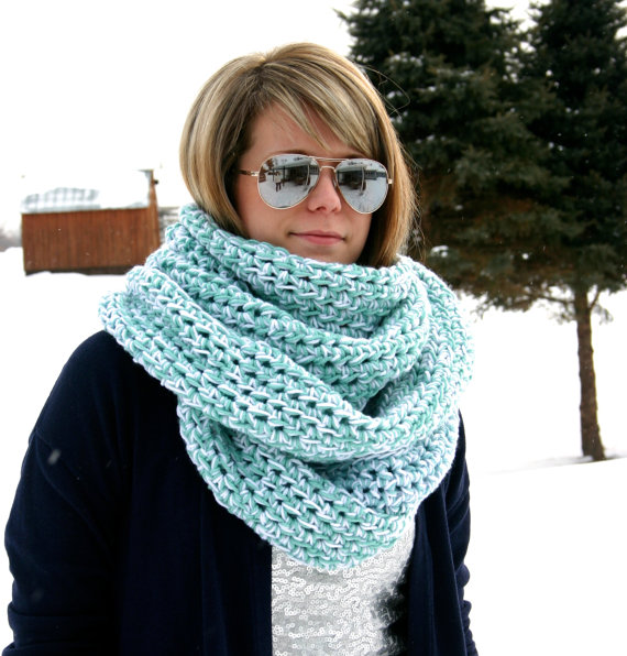 Chunky Blue Scarf by WarmsMyHeart