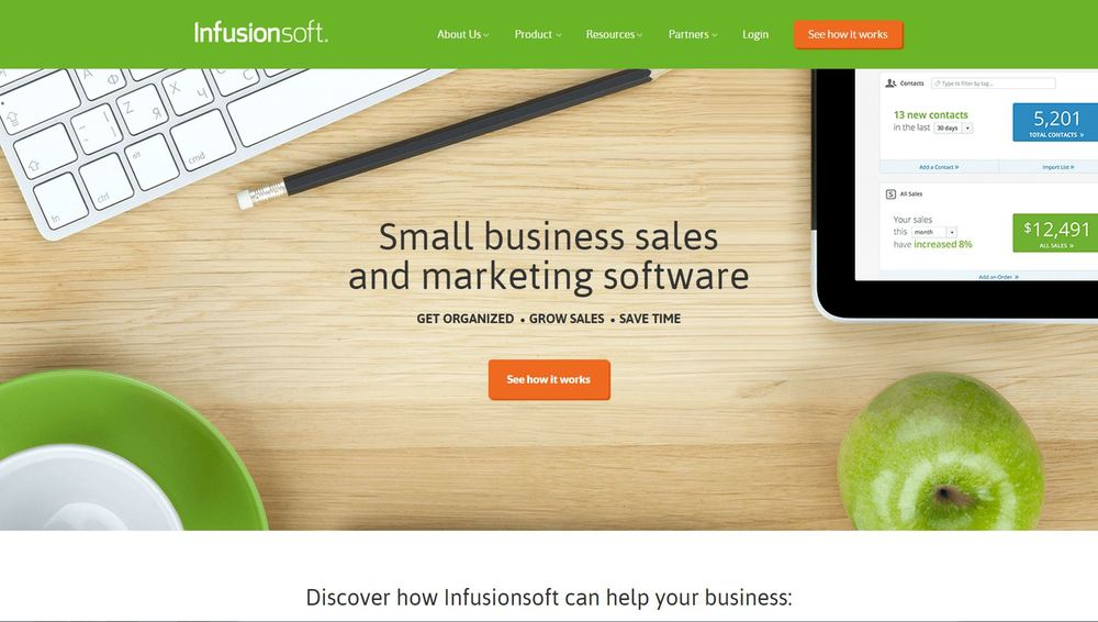 The home page of Infusionsoft (infusionsoft.com), which has many solid design principles incorporated.