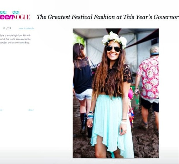Me in the Bella Crown got some love on TEEN VOGUE at Governors Ball 2013! <3