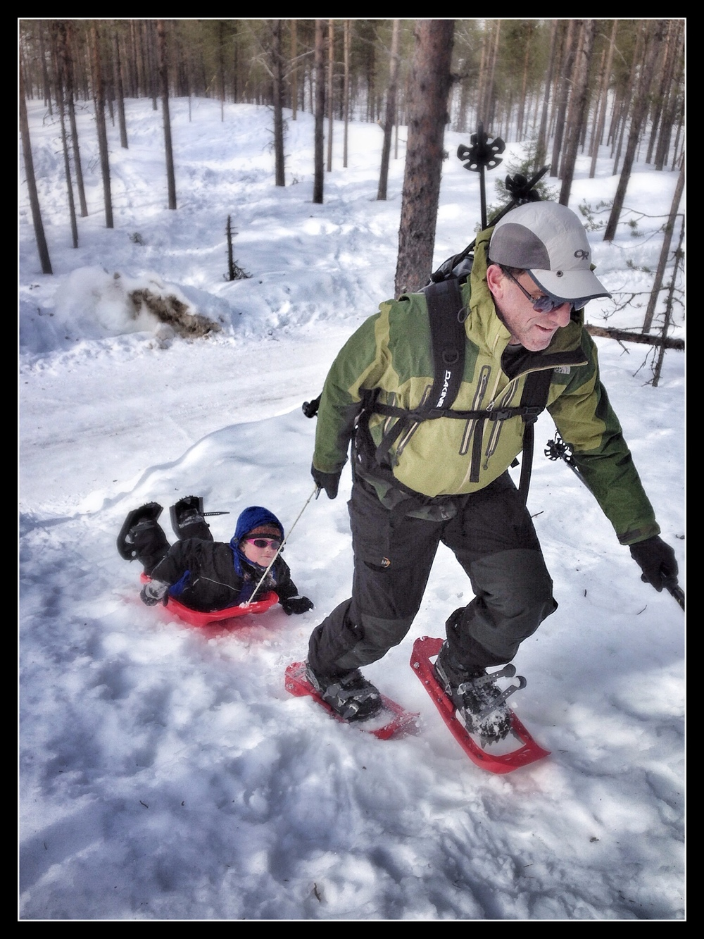 This is how you get a 5 year old to snowshoe more than ten feet.