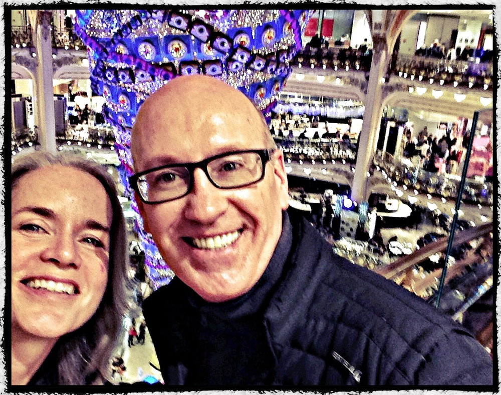With the birthday boy in Galleries Lafayette where 50,000 Chinese come to shop.