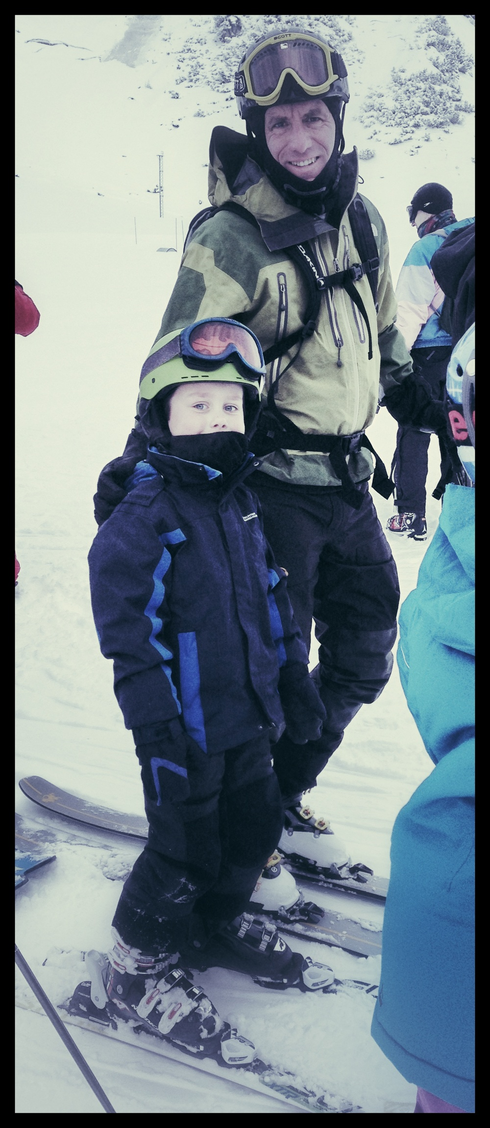 Feigning enthusiasm at the start of ski school