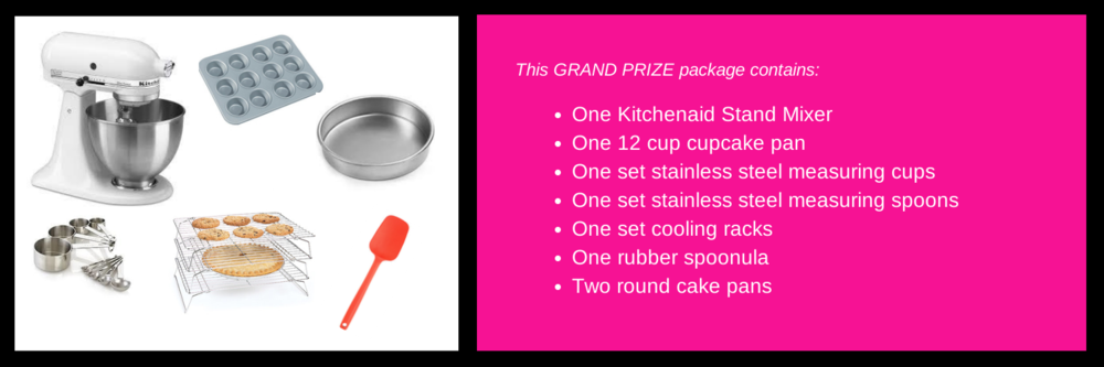 Enter below to win this grand prize package valued at approximately $500. Color of mixer may vary. This package will be awarded on September 9.
