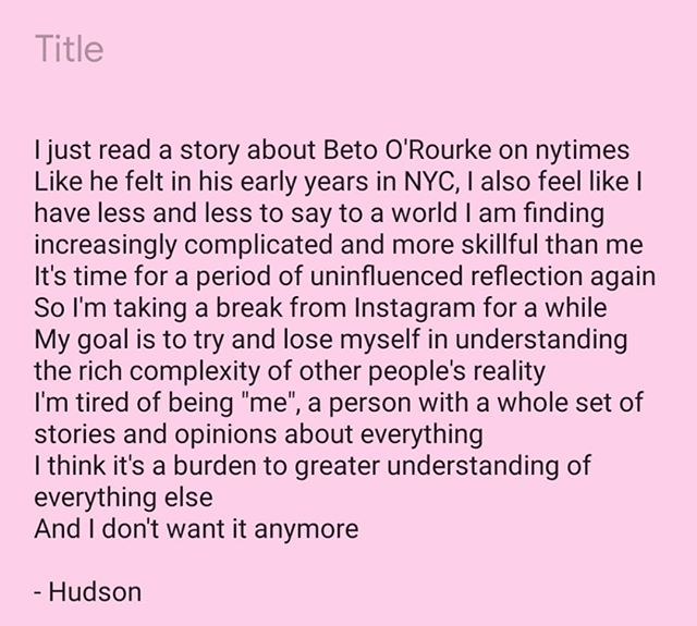 If I've contacted you here about talking in the next span of time, feel free to send an email as I won't be checking this account. hudsonlgardner@gmail.com.  I'll still be writing the Grass newsletter, grass.hudsongardner.com . #beto2020