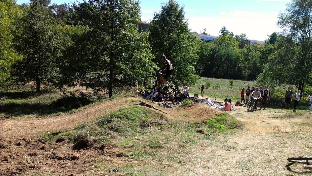 Andy Prunty getting air during practice runs for the Dual Slalom at out home race fall 2012