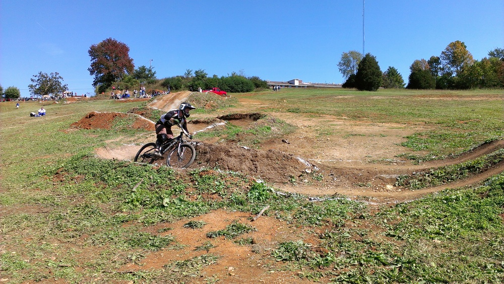 Kyle Nelson going through a berm at the dual slalom practice runs at LWC