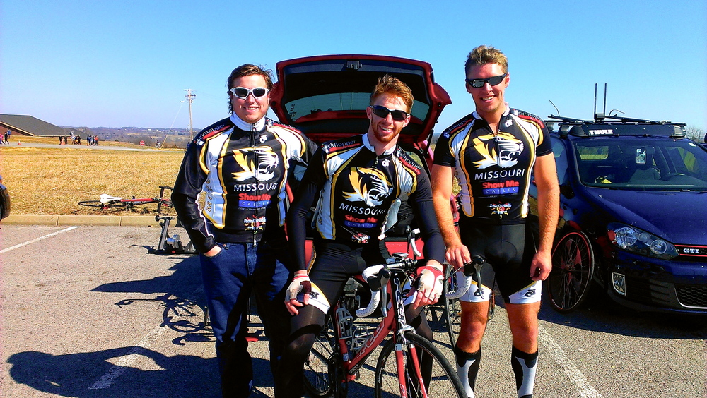 Eric Thompson, Matt Searcy, and Alex Miller following the Lindsey Wilson Road Race weekend in spring 2013