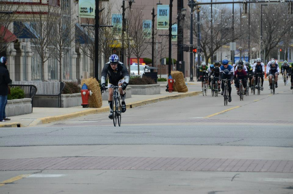 Alex Miller trying to escape off the front to bridge to a lone leader during the Notre Dame Crit spring 2013