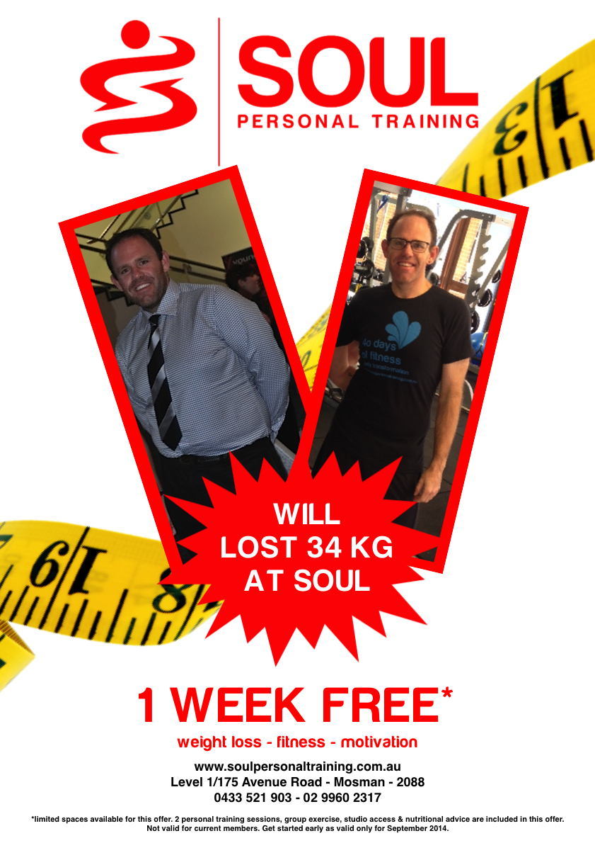 Congratulations Will O'Shea who lost 8kgs in the 40 Days of Fitness Challenge bringing his total to 34kgs.