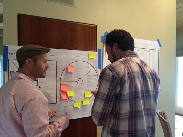 Fellow Bradley Caro Cook and JPP Founder David Winitsky work with post-its.