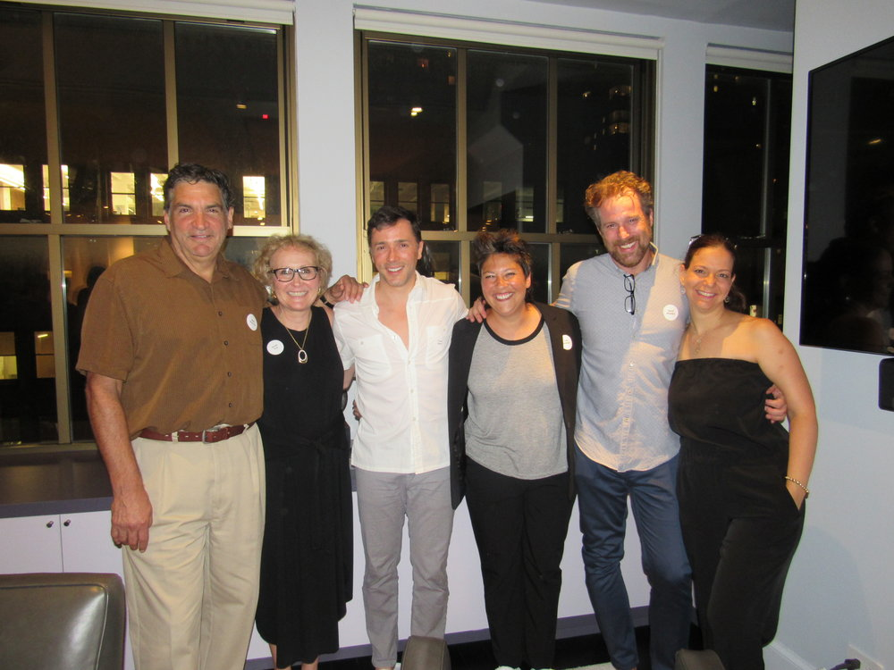 Board members Mark Shemtob, Dinah Fox and Judy Bowman with Yuval David and playwright Zphar Tirosh-Polk.